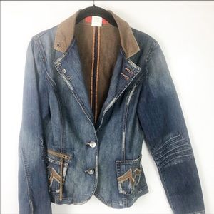 Level 99 Fitted Distressed Denim Jacket